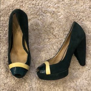 Lovely People Suede Leather Peep Toe Pumps